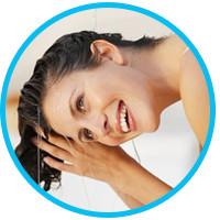 água-somente-cabelo-lavagem