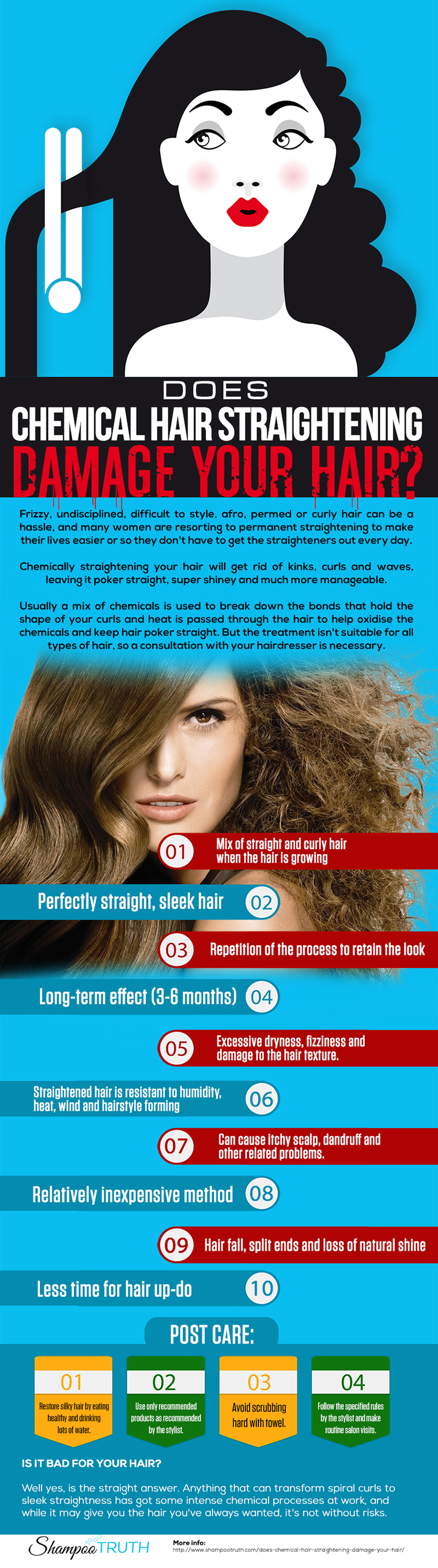 Perming your hair straight - Does Chemical Hair Straightening Damage Your Hair Infographic